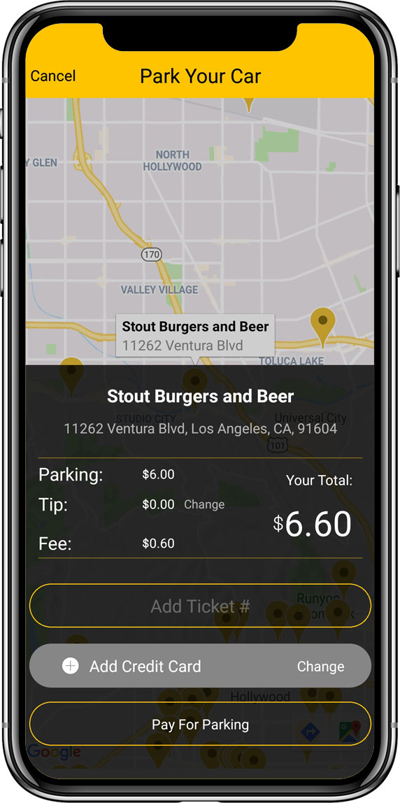 Add a tip, pay for your parking using app and go on